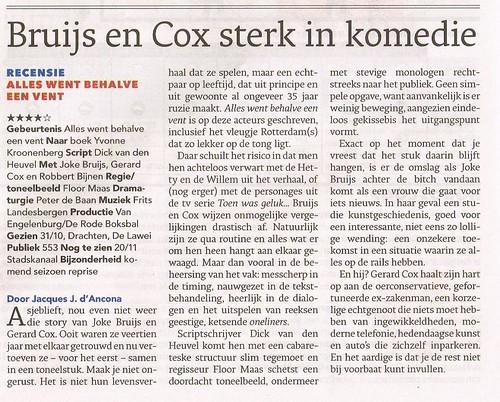 Bruijs en Cox strateln in Alles went behalve een vent - 2 nov 2014 - Dagblad van het Noorden