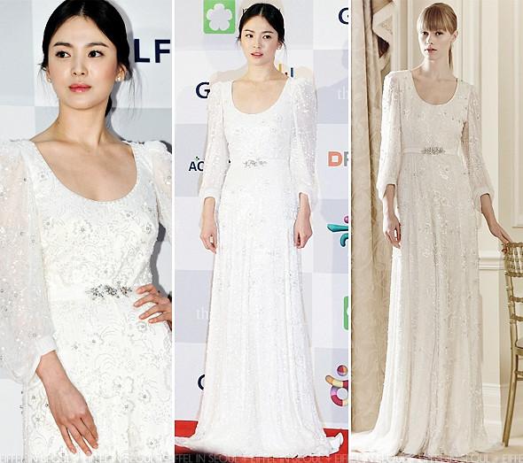 Eiffel In Seoul Song Hye Kyo Wears Jenny Packham To 2013 Apan Star Awards