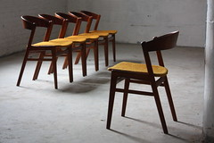 ***ON DECK***Devilish Dux Danish Mid Century Modern Ribbon Back Teak Dining Chairs (Denmark, 1960s)