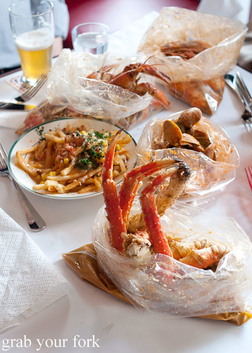 King crab boil, clams, yabbies, prawns and lobster fries at House of Crabs, Norfolk Hotel, Redfern