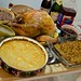Thanksgiving dinner! Bourbon pecan pie, pumpkin pie, caramelized-onion stuffing, baked man 'n cheese, gravy and cranberry sauce.