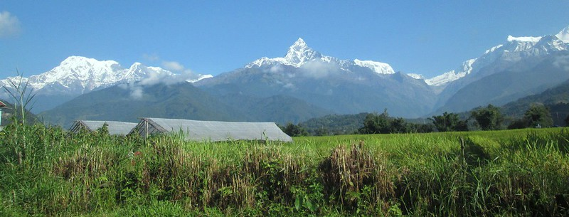 Snow topped mountains to the north of Pokhara, Photo by Steve Collins