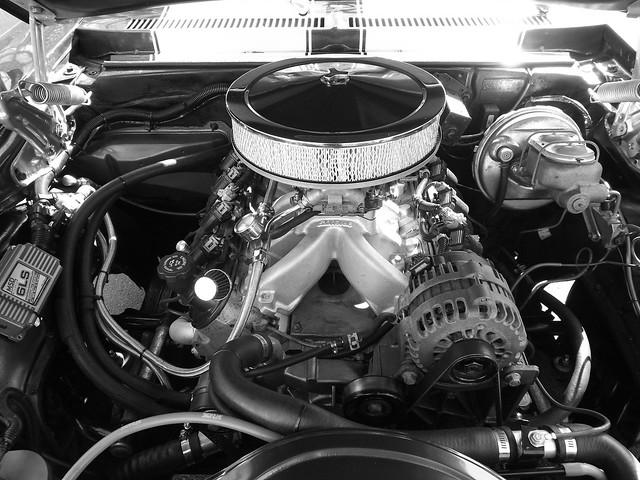Underneath the hood of a Chevy Nova