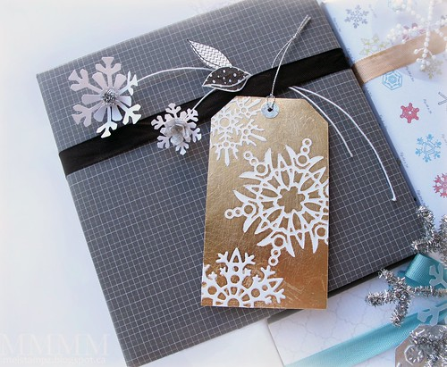 gold Gilded snow flake die-cut resist tag copy