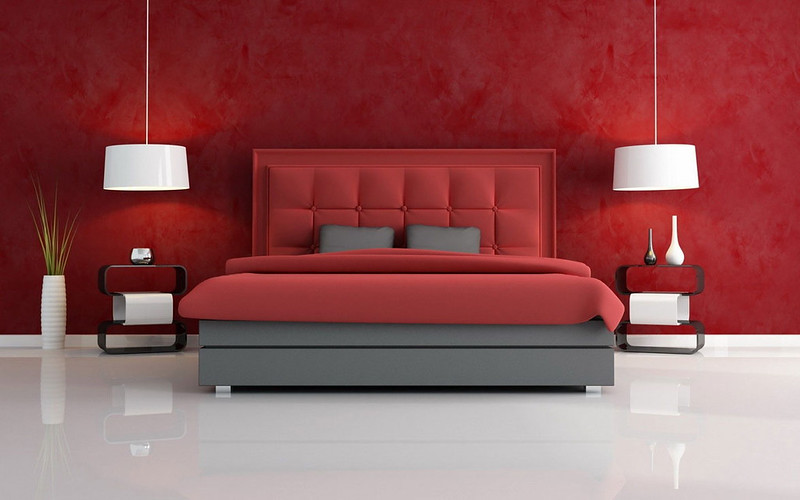 Red Color Bedroom Design Decorate Interior Warm Modern