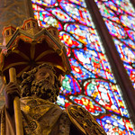 Statue and stained glass, Sainte-Chapelle
