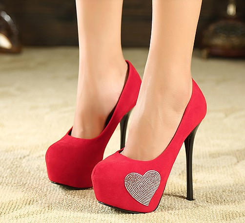Sweet Girl Drill Decoration Thin Heel Platform Pumps