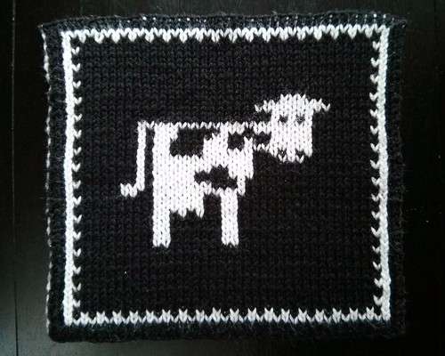 Double knit cow black side