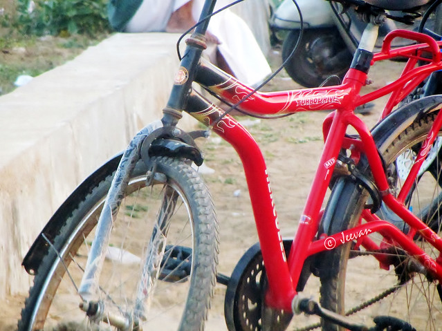 Red bicycle frame