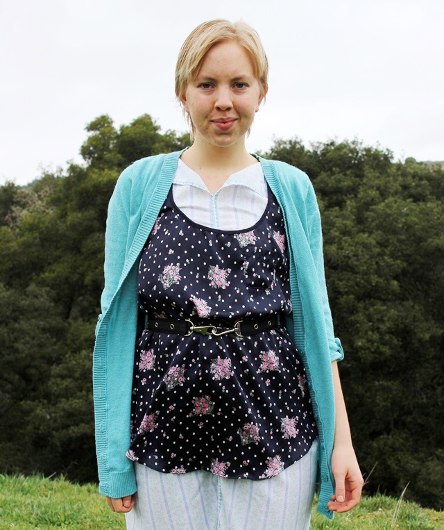 baby blue cardigan, silky black floral tank top, handmade house dress