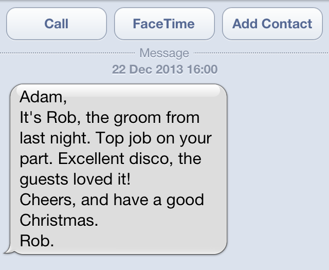 SMS from Groom.