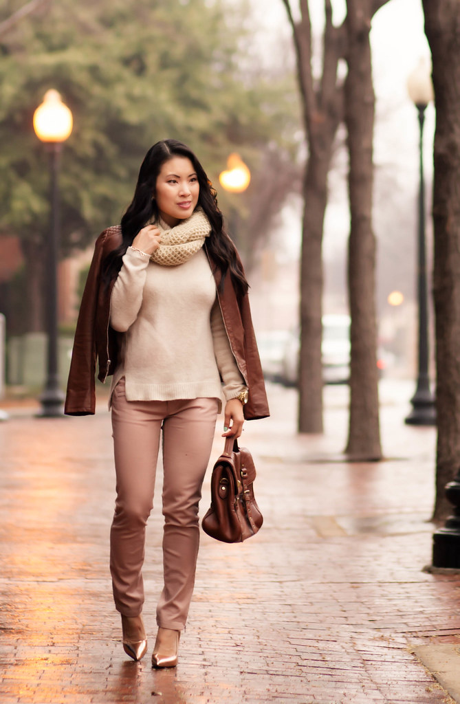 cute & little blog | winter pastels outfit | cognac moto jacket, beige cowl infinity scarf, pink pants, kate spade gold licorice pumps