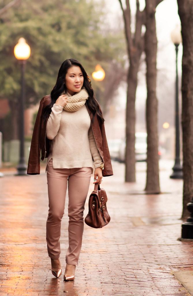 cute & little blog | winter pastels outfit | cognac moto jacket, beige cowl infinity scarf, pink pants, kate spade gold licorice pumps
