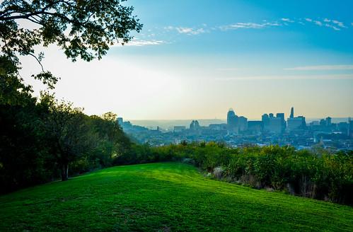 city blue sky tree green grass clouds landscape pretty cityscape cincinnati queen cinci