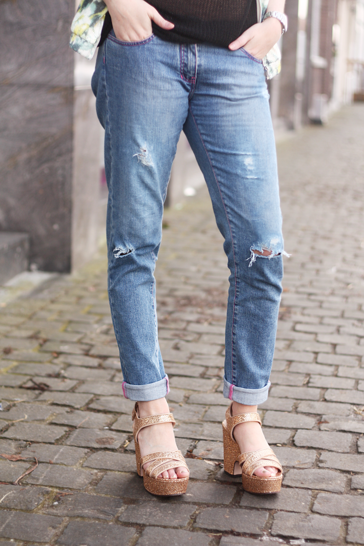 Ripped Boyfriend Jeans, Gold Wedges