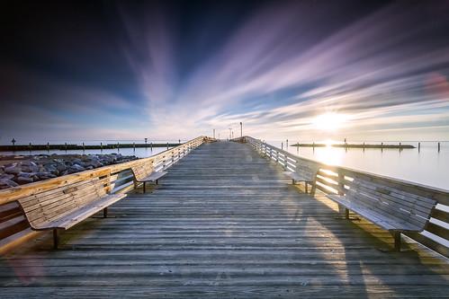 longexposure beach sunrise landscape dawn pier maryland newyear northbeach newyearsday chesapeakebay firstsunrise singhray leebigstopper darylbensonrgnd
