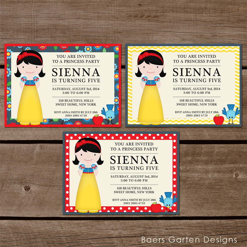 Snow white birthday party invitations