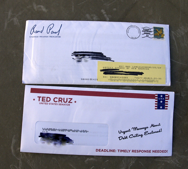 Political Junk mail from Rand Paul and Ted Cruz