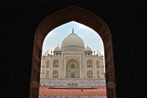 Beautiful doorway cropping of the Taj Mahal