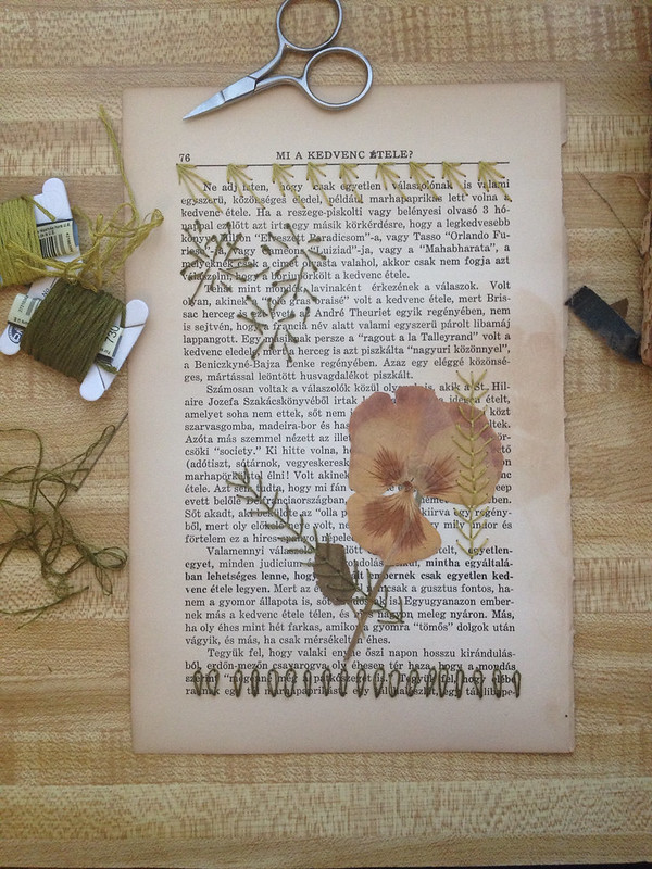 Pressed flower, paper and embroidery. Work in progress.