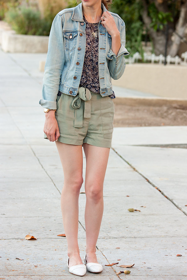 Gap Tie Shorts, Silk Floral Blouse, Madewell Flats