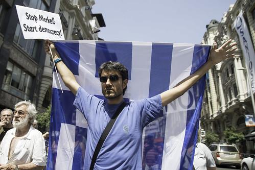 Marcha en Madrid en solidaridad con Grecia y por el NO (OXI) en el referéndum griego