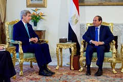 U.S. Secretary of State John Kerry sits with Egyptian President Abdel Fattah al-Sisi at the Ittihadiya Presidential Palace in Cairo, Egypt, at outset of a bilateral meeting following a series of security and economic discussions during a Strategic Dialogue between the United States and Egypt on August 2, 2015. [State Department photo/ Public Domain]