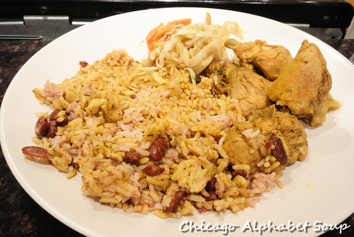 Curry Chicken, Rice and Bean, Cabbage