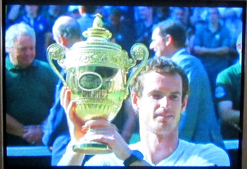 Andy Murray with Wimbledon Trophy