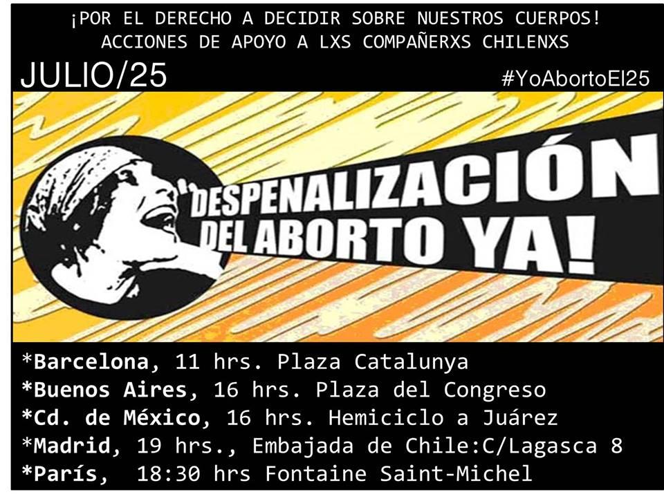 DESPENALITZACIO AVORTAMENT A XILE. Mobilització 25J a Barcelona