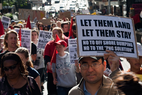 Rally Protesting Rudd PNG Refugee Policy