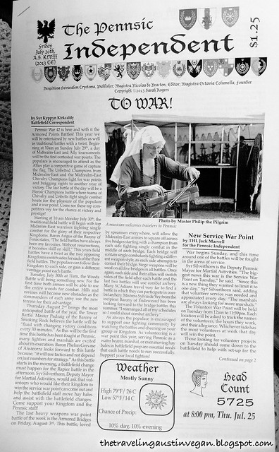 I Made the Front Page of the Pennsic Independent!