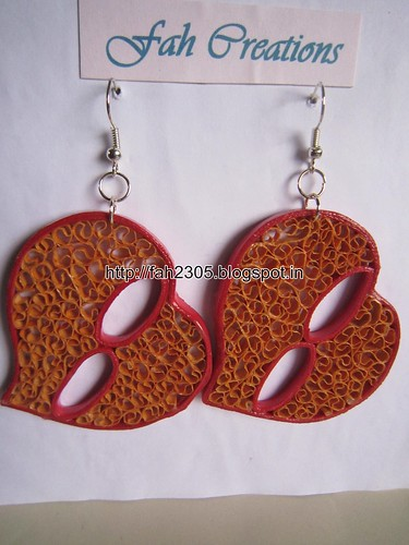 Handmade Jewelry - Beehive Paper Quilling Heart Earrings (3) by fah2305