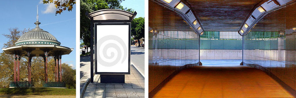 Photo Tips | Location ideas for outfit photos when it's raining: Bandstand, Bus shelter, pedestrian underpass