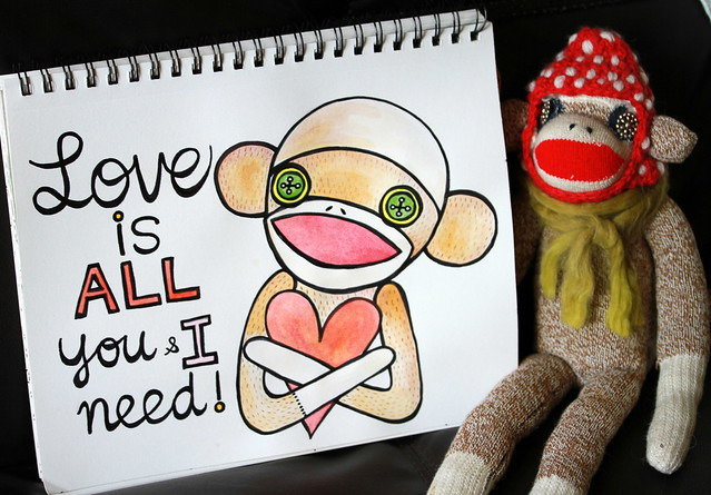 Sock monkey doodle