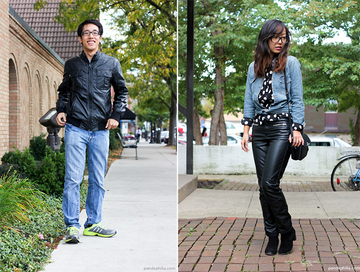 leather and denim couples outfit