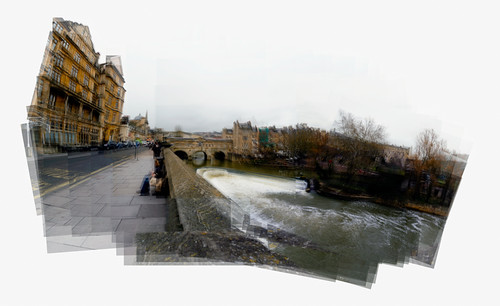 A Panograph of Putney Bridge and Weir in Bath.