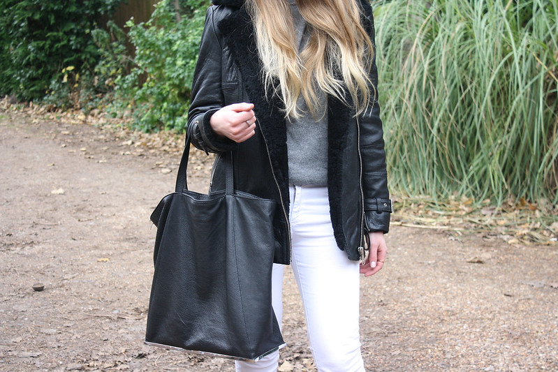 Zara black leather tote