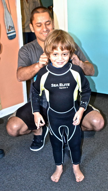 Manatee Snorkeling, Crystal River, Florida - baby in wetsuit