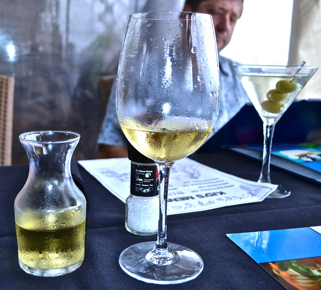 wine and martini at Oceans 234 restaurant, Deerfield Beach, Florida