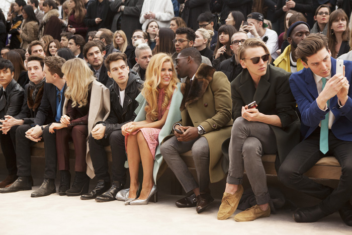 Nick Grimshaw, George Barnett, Suki Waterhouse, James Righton, Paloma Faith, Tinie Tempah, Jamie Campbell Bower and George Craig at the Burberry Prorsum Menswear Autumn_Winter 2014 Show