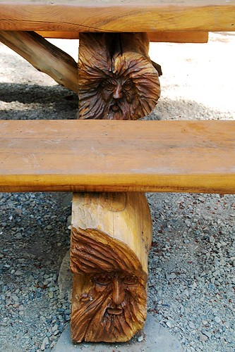 Bench Carving on Nymph Falls Trail, Courtenay, Vancouver Island, British Columbia