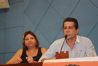 O presidente estadual David Martins e Maria Cristina, da Secretaria da Mulher