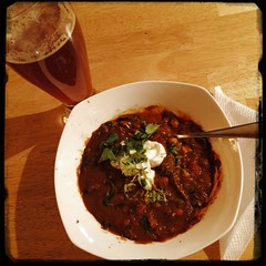 #Angus #beef #SuperBowl #ChiliConCarne garnished w/ Jalepeno, lime zest & cilantro