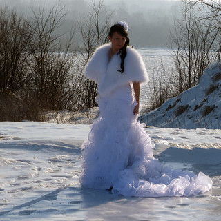 White lady - a bride on white snow