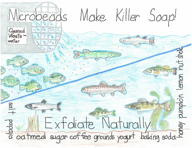 illustration of microbead pollution