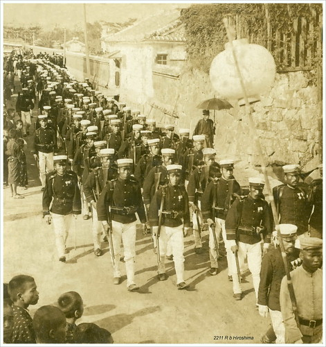 Japan. Hiroshima. Year 1905. Funeral Procession of Officers kiled at Port Arthur - Infantry trailing arms.