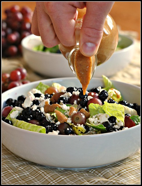 Salad with Blueberries, Grapes, and Almond Honey Mustard Dressing 2