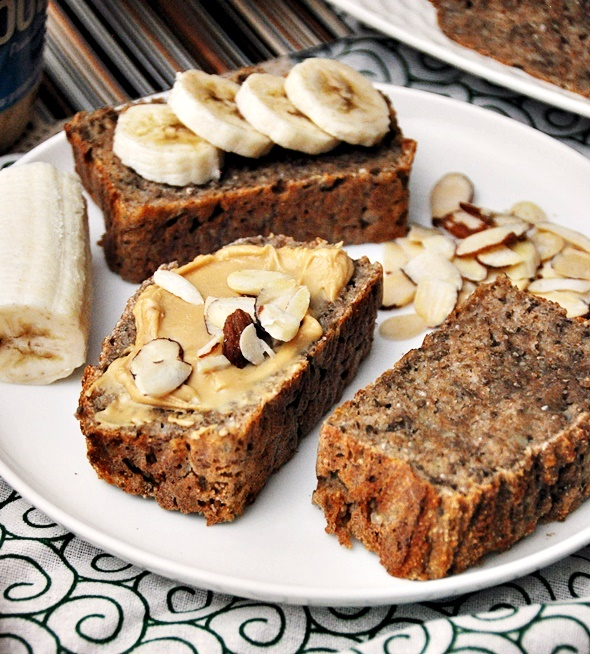 5 Ingredients Spelt & Chia Seeds Banana Bread  [Vegan] | www.fussfreecooking.com