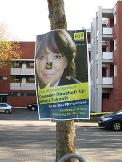 FDP-Wahlplakat mit Carola Möllemann-Appelhoff für die Kommunalwahl 2014 in Roxel